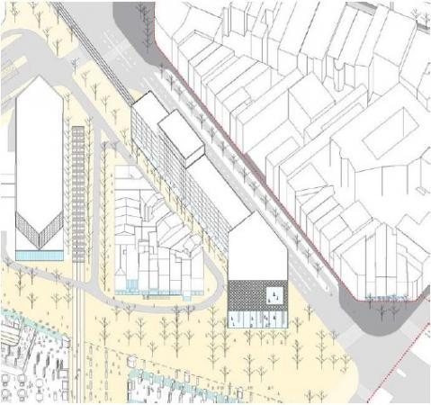 Projet Jamar, extrait du projet urbain pour transformer le quartier de la gare du Midi en gare habitante