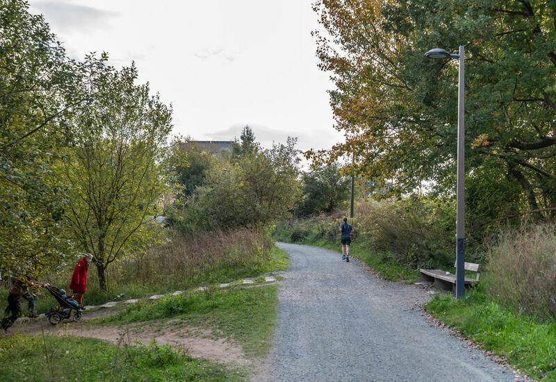 Een jogger in het park L28